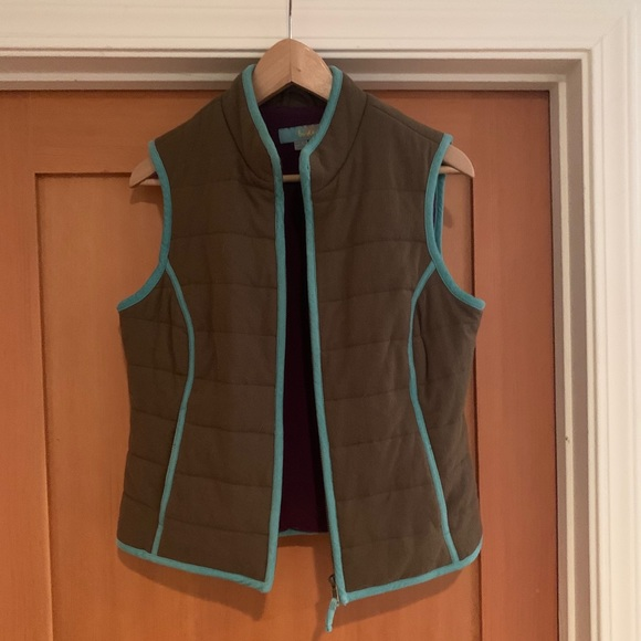 Boden wool vest with aqua corduroy piping size 8